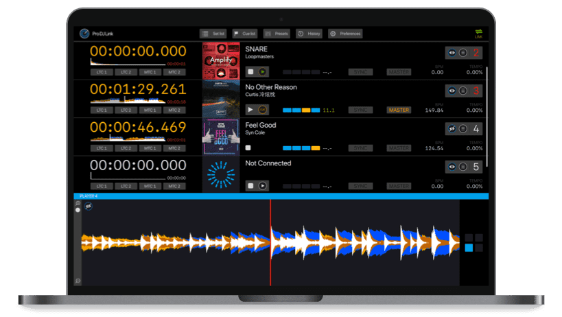 ProDJLink Software for PRO DJ LINK - Main Window